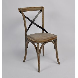 Gracie Oaks Clary Cross Back Weathered Dining Chair