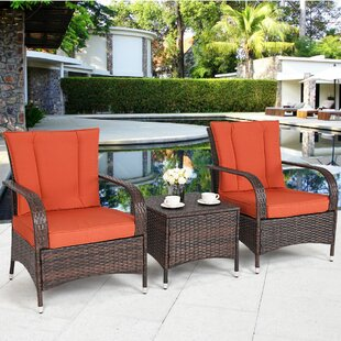 Adda 3 Piece Rattan 2 Person Seating Group with Cushions