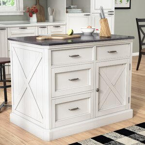 Ryles Kitchen Island with Engineered Quartz Top by Laurel Foundry Modern Farmhouse