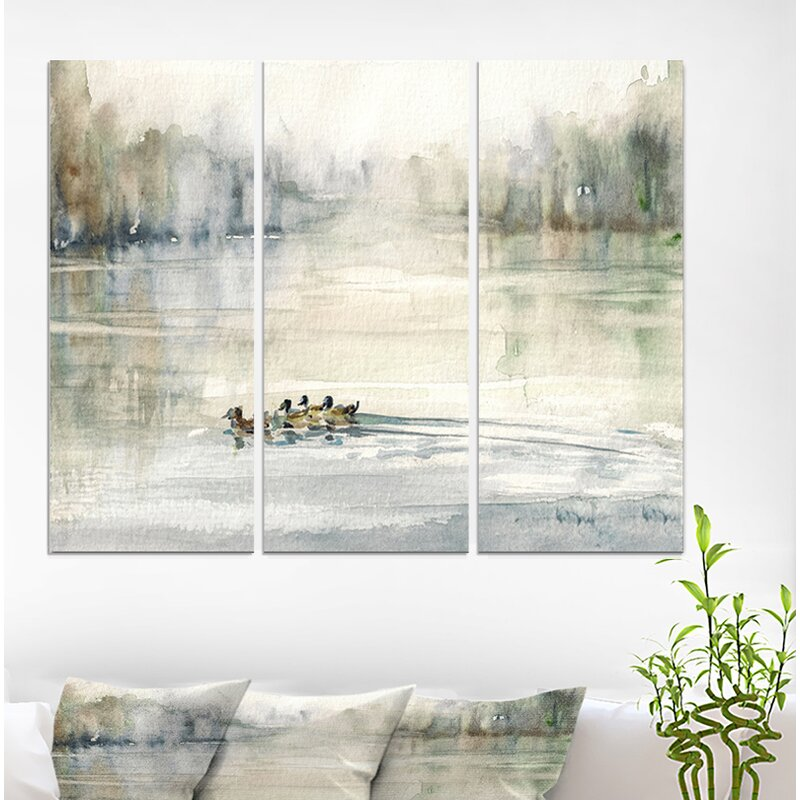Multi Textured Wallpaper Forest Painting//Ducks