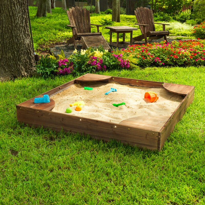 Convertible Outdoor Sand Pit Fir Sandbox with Canopy Can Place Sea Ball