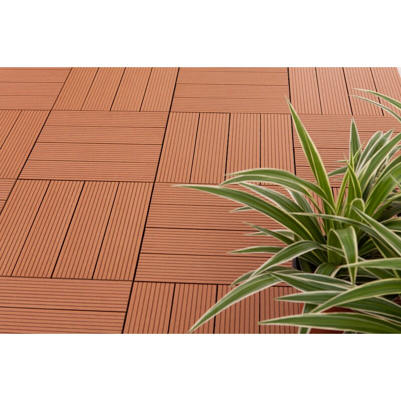 Vifah Composite Teak X Interlocking Deck Tiles Reviews - Teak patio flooring 12x12