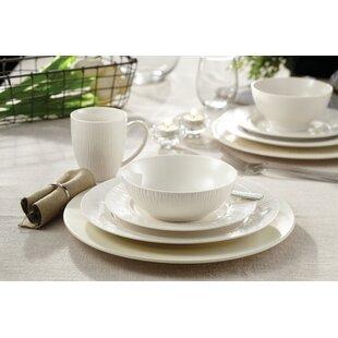Loucks Embossed Porcelain 16 Piece Dinnerware Set, Service for 4