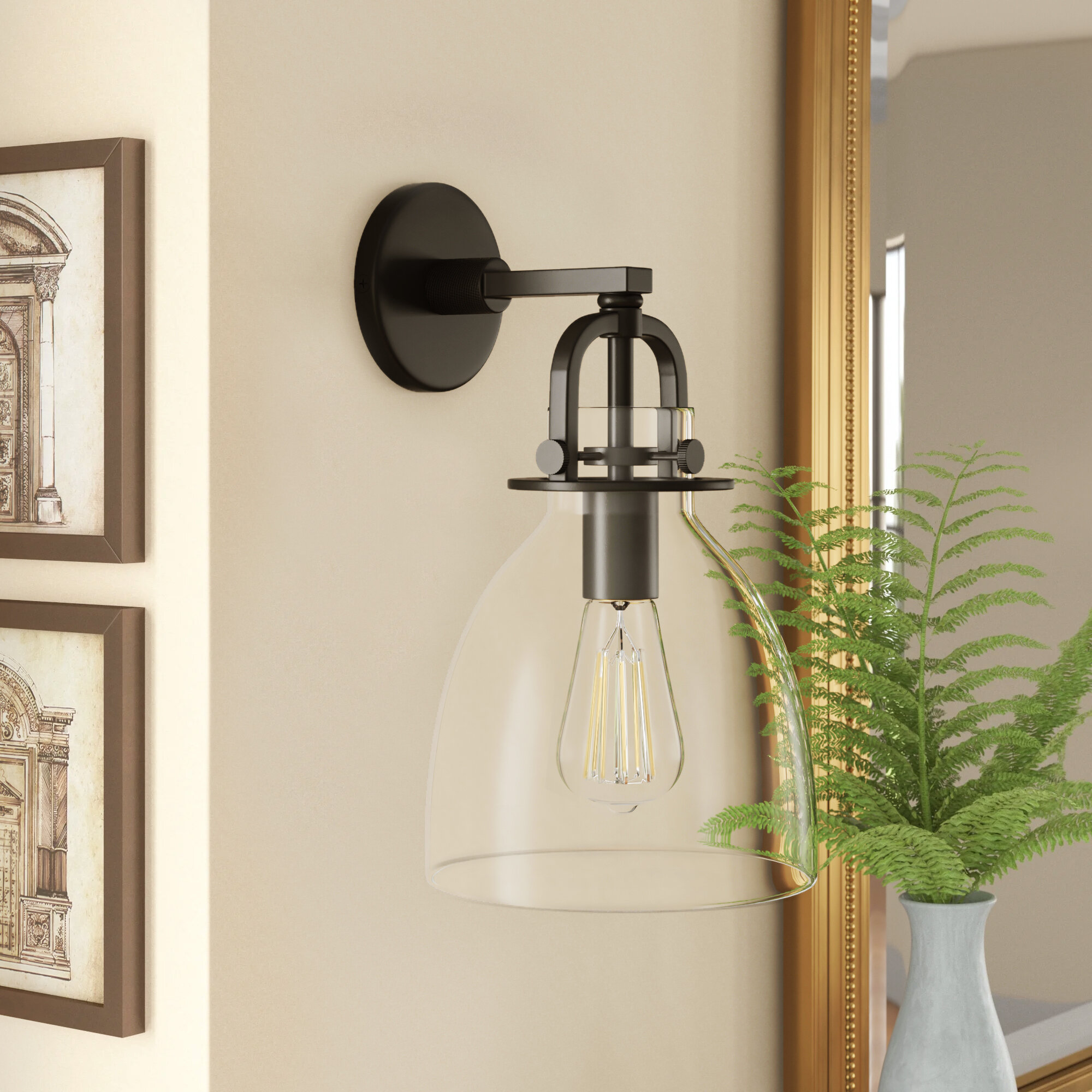 Three Posts Chesterland 1 Light Armed Sconce Wayfair