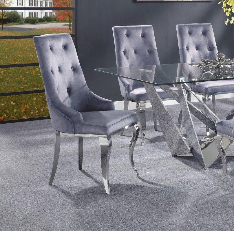Rosdorf Park Adalard Tufted Fabric Upholstered Side Chair (Set of 2)