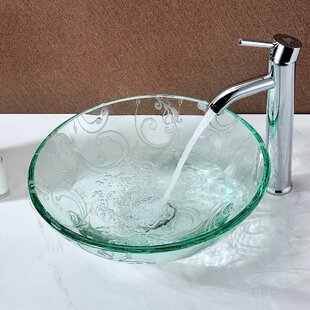 Clearance Vieno Glass Circular Vessel Bathroom Sink By ANZZI