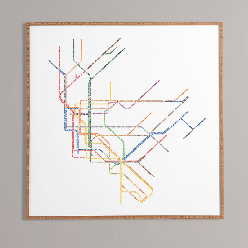 Mercury Row Nyc Subway Map Framed Graphic Art Print Reviews