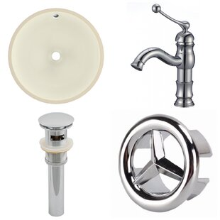 Budget CUPC Ceramic Circular Undermount Bathroom Sink with Faucet and Overflow ByAmerican Imaginations