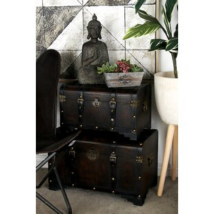 Wood and Leather Trunk Set By Cole & Grey