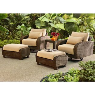 Darby Home Co Fleming 5 Piece Rattan Conversation Set with Cushions