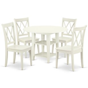 Lampley 5 Piece Drop Leaf Solid Wood Dining Set