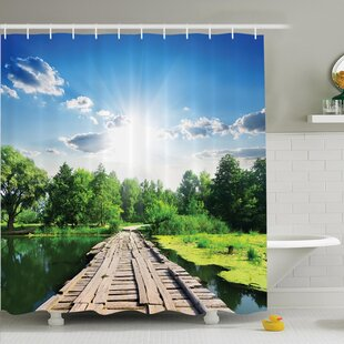 Nature Wooden Bridge on River Shower Curtain Set
