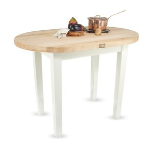 Eliptical CTable Prep Table with Butcher Block Top by John Boos