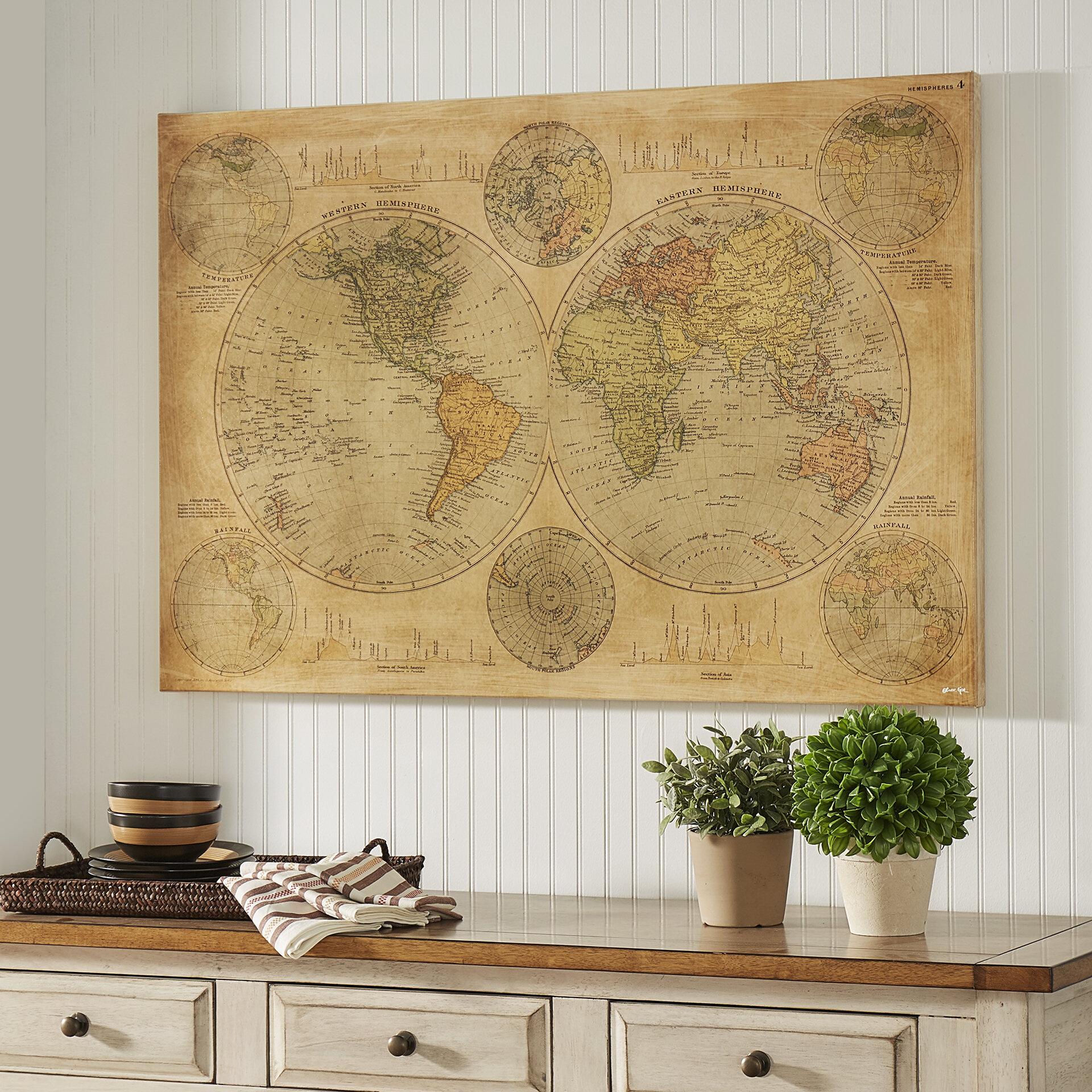 Hemispheres Map 1891 Graphic Art On Wrapped Canvas Reviews