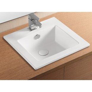Ceramica II Ceramic Rectangular Drop-In Bathroom Sink with Overflow Caracalla