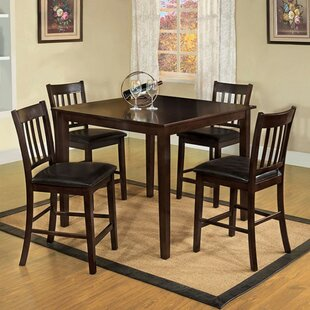 Faulk 5 Piece Counter Height Solid Wood Dining Set