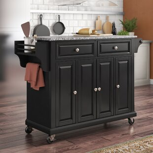 Hedon Kitchen Cart with Granite Top Three Posts