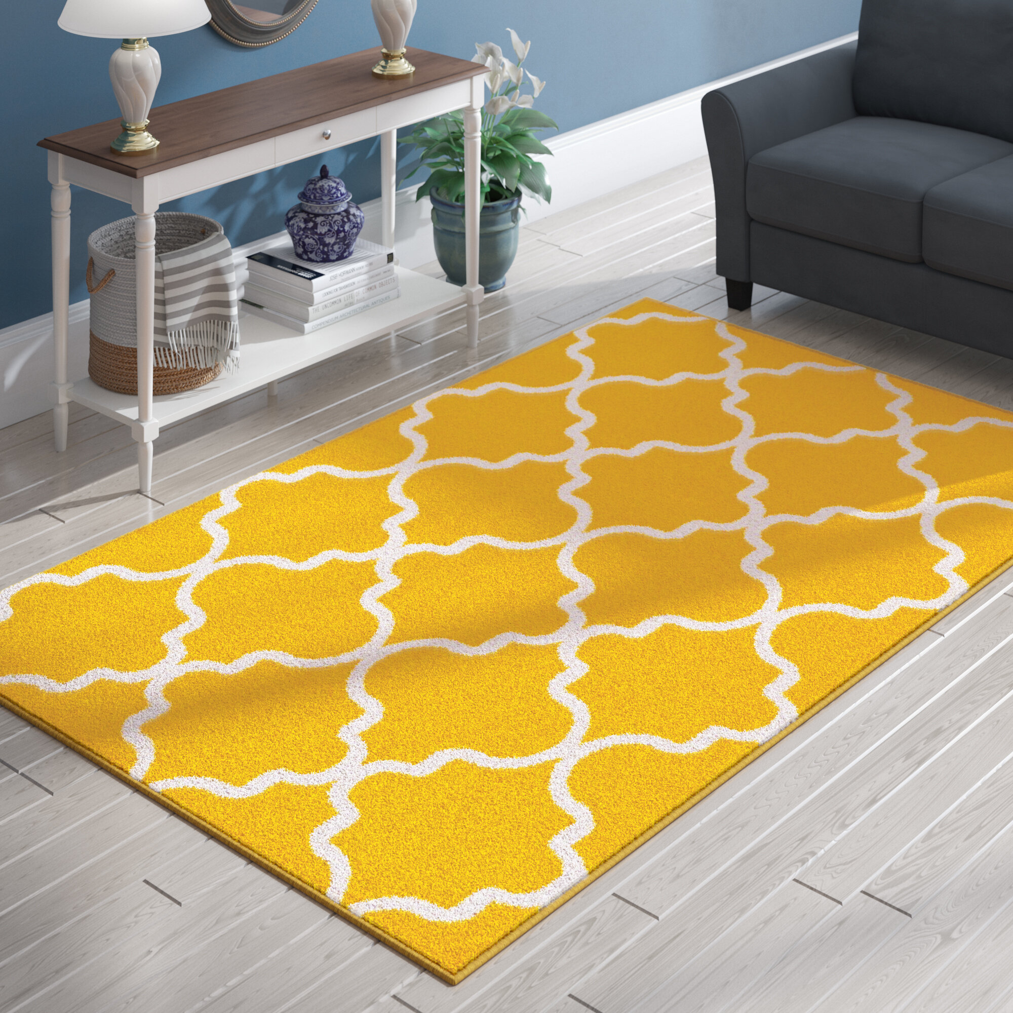 Cynthia Wool Yellow White Area Rug