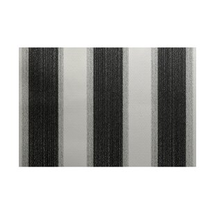 Babineau Stripe Print Black Indoor/Outdoor Area Rug