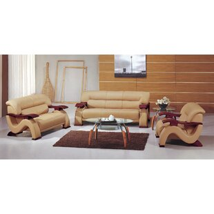 Chrysocolla Leather 3 Piece Living Room Set By Hokku Designs