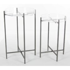Gallant Uniquely Metal Acrylic 2 Piece Tray Table Set by Brayden Studio