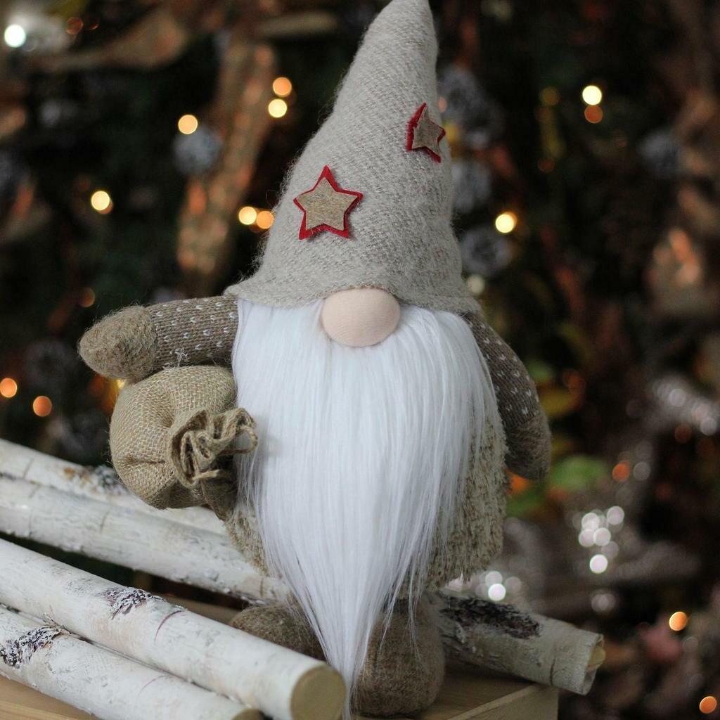 Christmas Gnomes.15 Christmas Gnome With Burlap Sack Tabletop Decoration