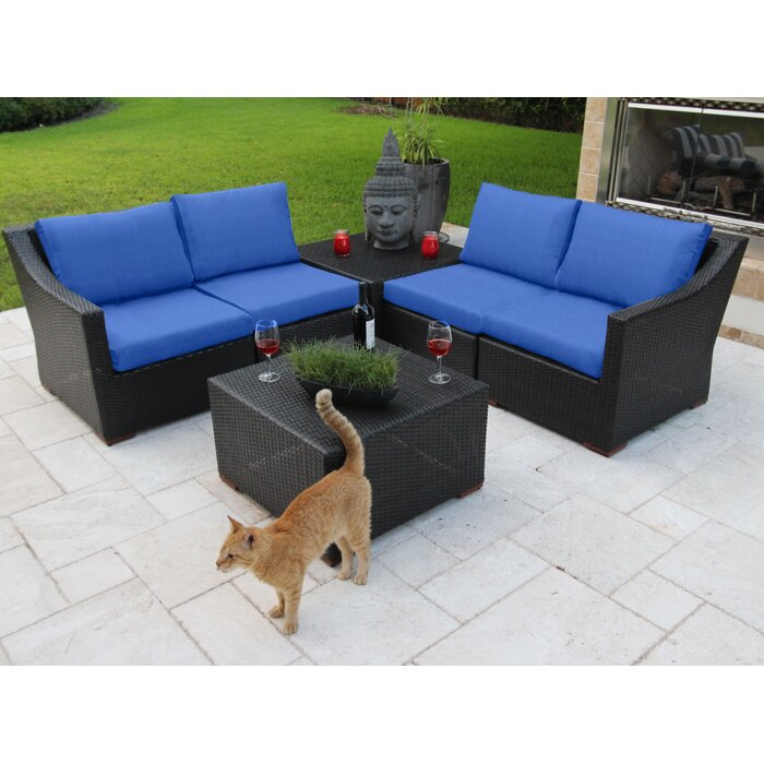 Amazing Bellini Marcelo 6 Piece Sunbrella Sofa Set With Cushions Ncnpc Chair Design For Home Ncnpcorg