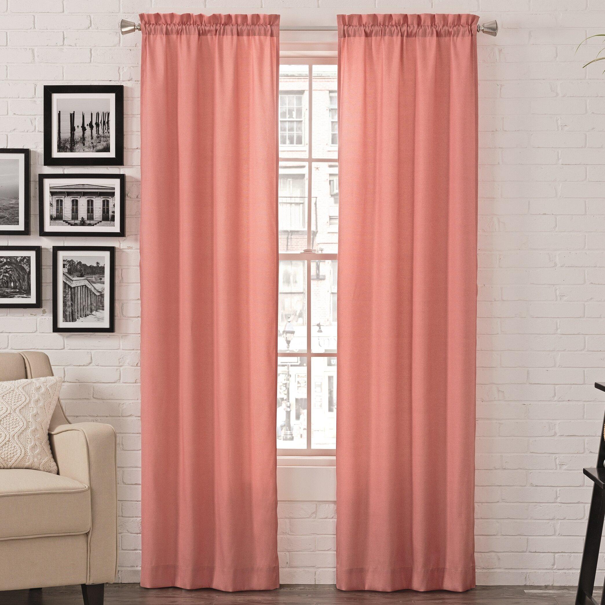 Kenda Modern Solid Light Filtering Rod Pocket Curtain Panels