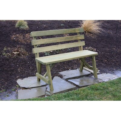 "Hurtt Traditional Garden Bench August Grove Color: Natural Stain, Size: 34"" x 94"" W x 24"" D"