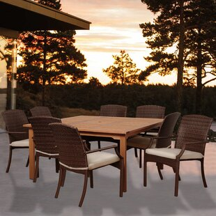 Rosecliff Heights Ashford 9 Piece Square Wood Dining Set With Cushions