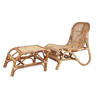 Ibolili Rattan Kim Lounge Chair with Ottoman