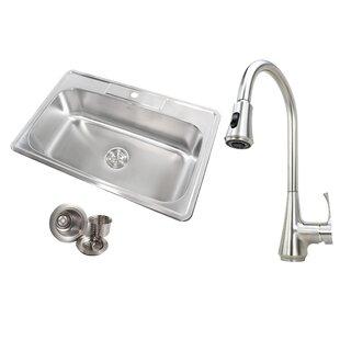 "eModern Decor Topmount 33"" x 22"" Drop In Kitchen Sink with Faucet"