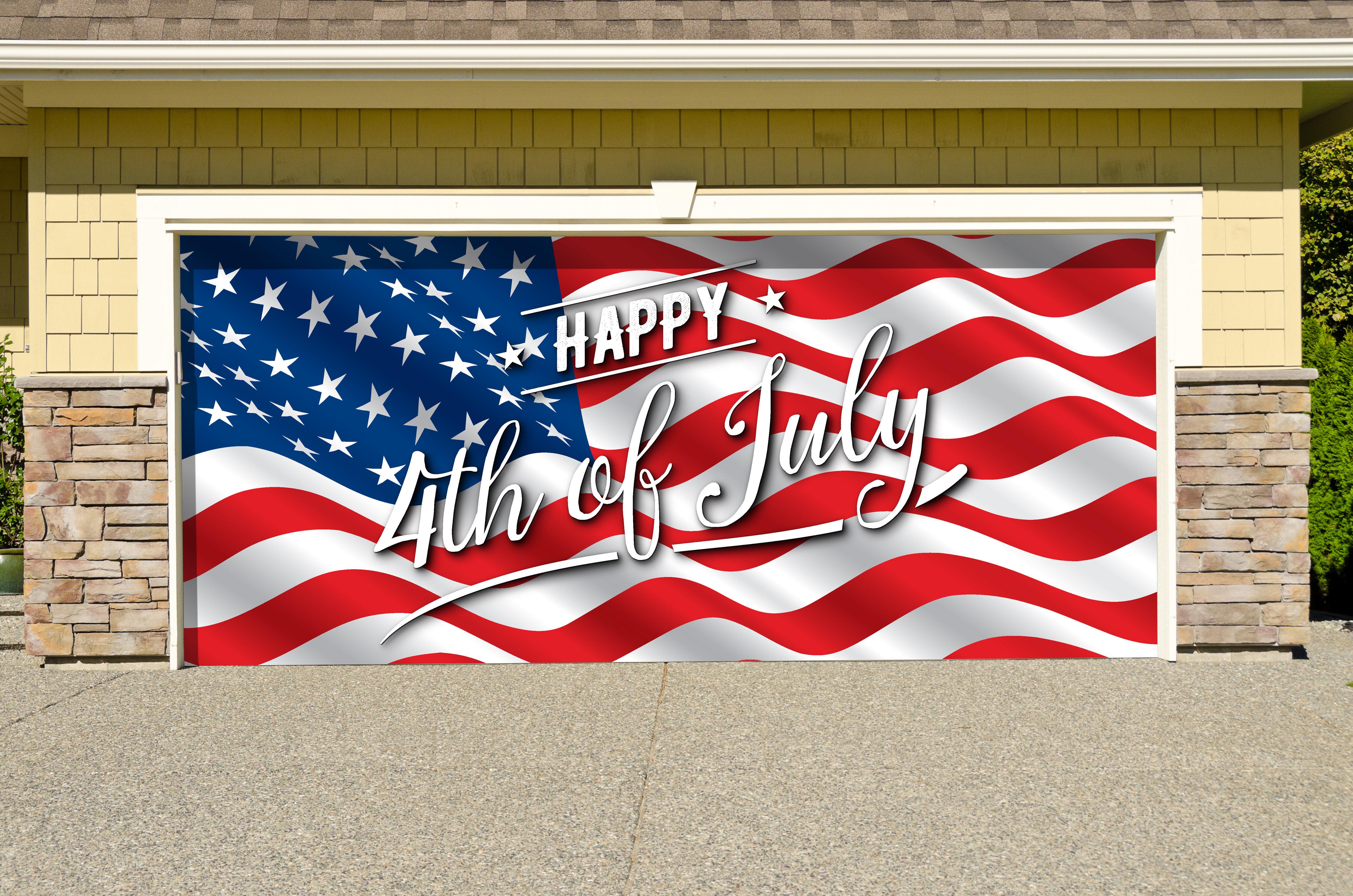 The Holiday Aisle American Flag Happy 4th Of July Garage Door Mural Wayfair