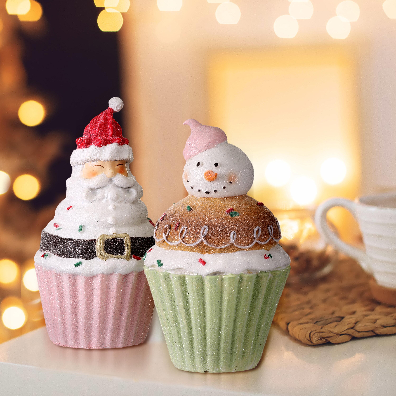 The Holiday Aisle Resin Frosty Santa Snowman Cupcake Set Of 2 Reviews Wayfair