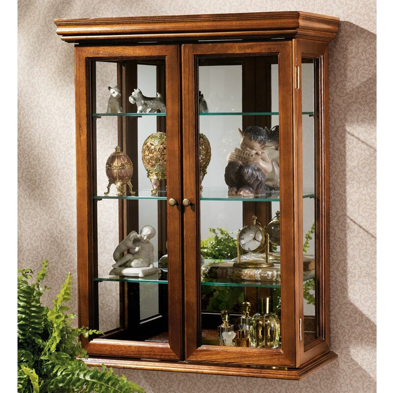 Country Tuscan Wall Mounted Curio Cabinet