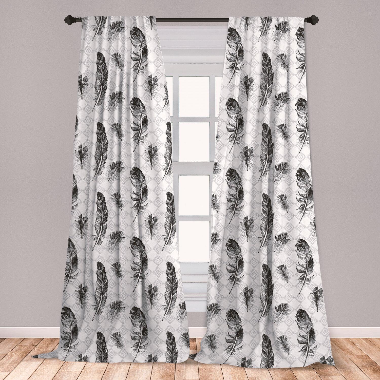 East Urban Home Ambesonne Feather Geometric Room Darkening Rod Pocket Curtain Panels Wayfair