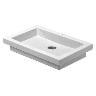 2nd Floor Ceramic Rectangular Drop-In Bathroom Sink By Duravit
