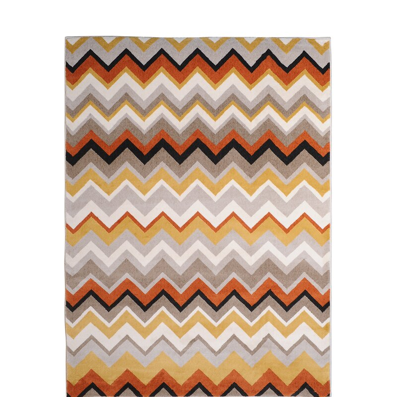 Ebern Designs Dariell Chevron Orange Yellow Beige Area Rug Reviews Wayfair