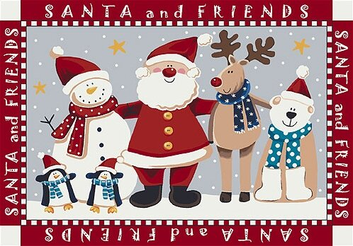 The Holiday Aisle Norsworthy Santa And Friends Christmas Red Area Rug Reviews Wayfair