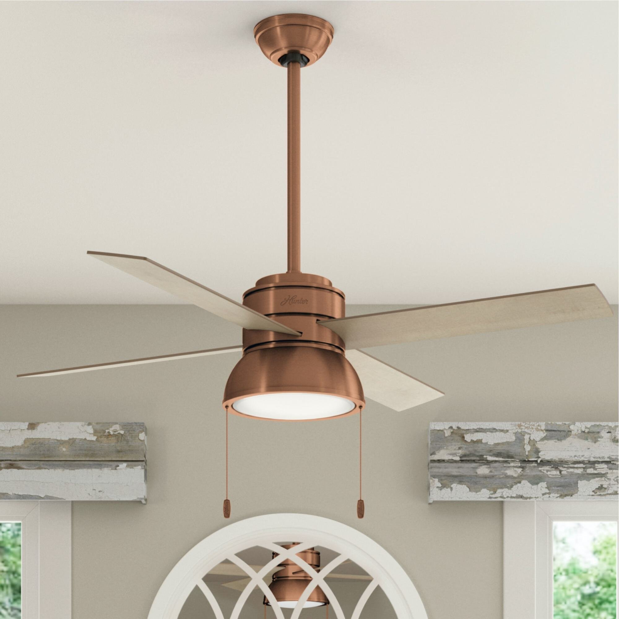 Hunter Fan 52 Loki Weathered Copper Ceiling Fan With Led Light Kit And Pull Chain Wayfair