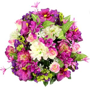36 Stems Artificial Hibiscus, Rosebud, Freesias and Fillers Flower Mixed Bush with Greenery