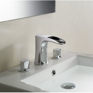 dCOR design Cascade Stufurhome Widespread Bathroom Faucet with Drain Assembly