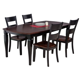 Besse 5 Piece Solid Wood Dining Set with Curved Back Chair