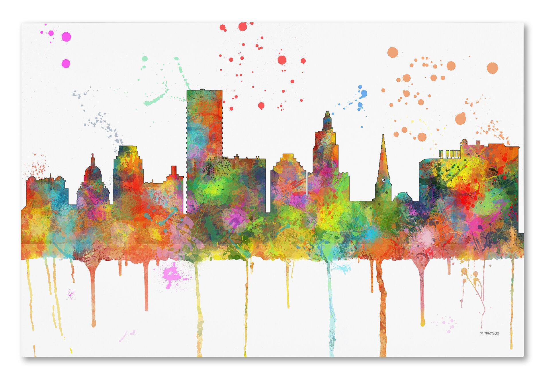 Trademark Art Providence Ri Skyline Mclr 1 Graphic Art On Wrapped Canvas Wayfair