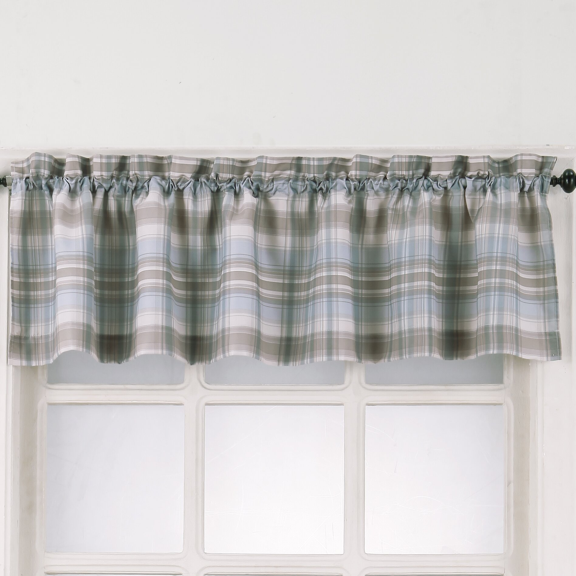 No. 918 Dawson Plaid Rod Pocket Kitchen Curtain Valance