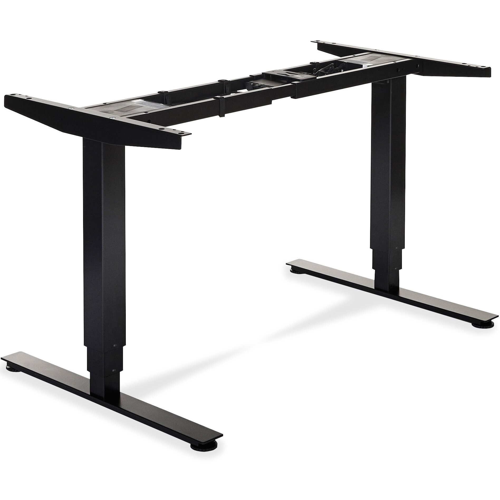 Lorell electric height adjustable sit stand desk frame for Motorized sit stand desk