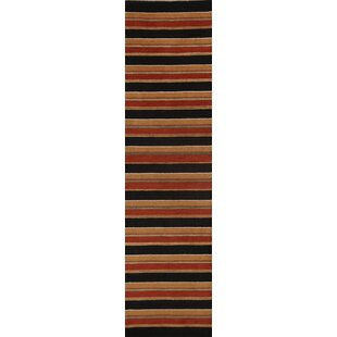 Best Reviews One-of-a-Kind Candace Gabbeh Oriental Hand-Knotted 9' 9'' X 2' 6'' Wool Orange/Red/Black Area Rug ByRed Barrel Studio
