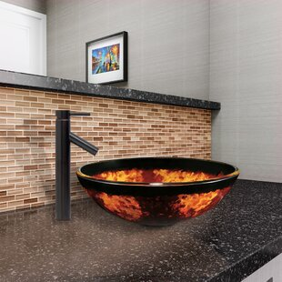 Affordable Fusion Glass Circular Vessel Bathroom Sink with Faucet By VIGO