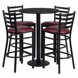 Alvarez Round Laminate 5 Piece Pub Table ..