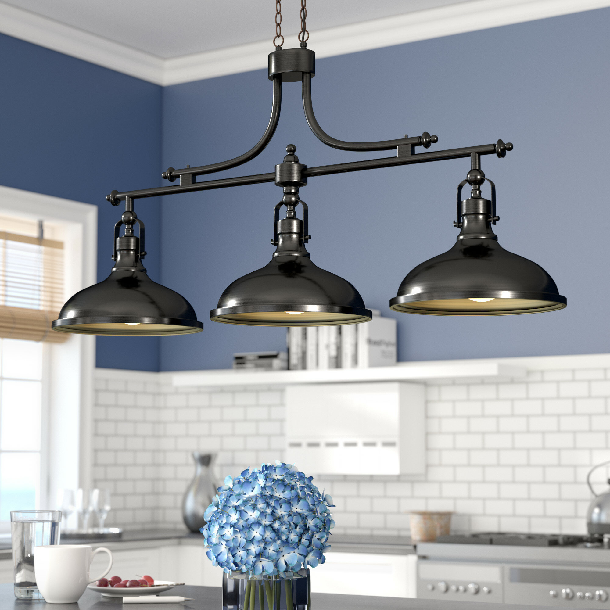 3 light kitchen island pendant black wayfair beachcrest home martinique 3light kitchen island pendant reviews